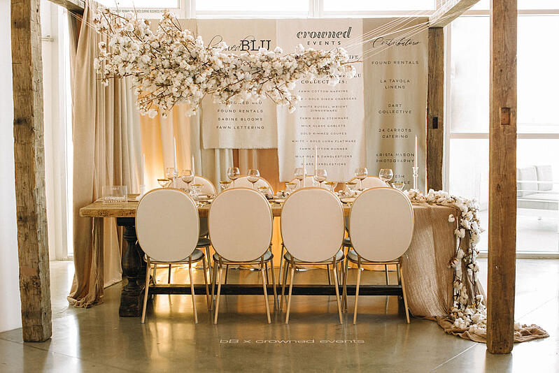 Hanging installation by Crowned Events at borrowed BLU event using cotton on a stick from Mayesh Wholesale.