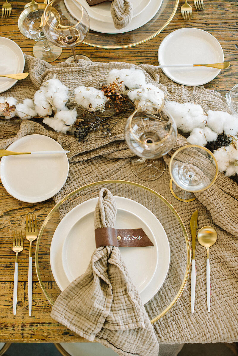 Tablescape by Crowned Events at borrowed BLU event using cotton on a stick from Mayesh Wholesale.
