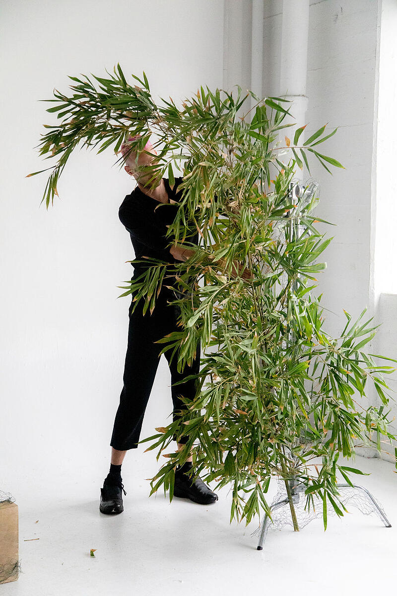 tropical foliage and flower installation - bamboo