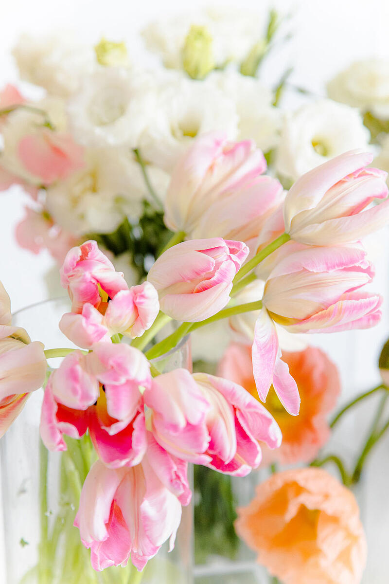 pink tulips, white lisianthus, peach poppies