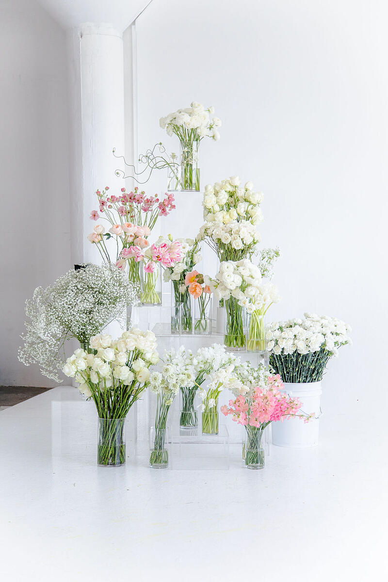 white, light pink, and peach flowers