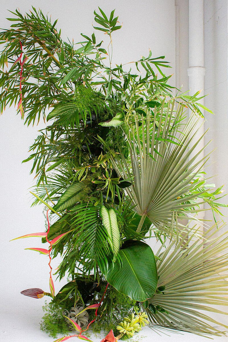 tropical foliage and flower installation