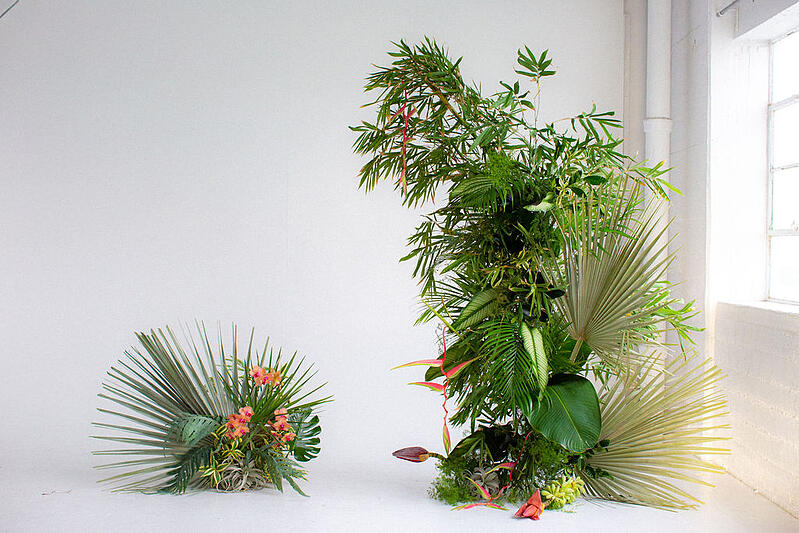 tropical foliage and flower installation - design tutorial