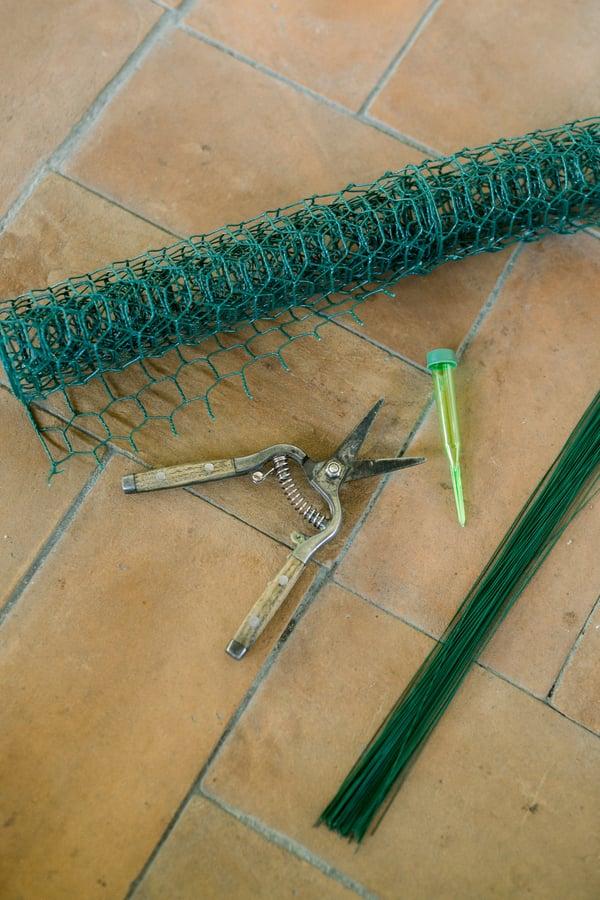 chicken wire, floral snips, water picks, floral wire