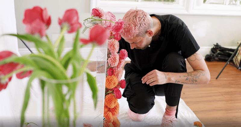 porch wedding installation - flowers cascading down a column - dahlias