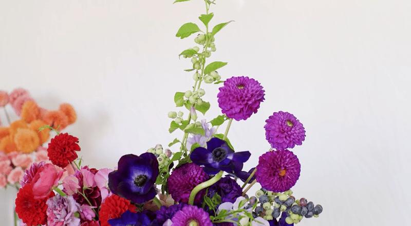 Zoom wedding flowers - jewel tone flower centerpiece - dahlias, anemones, ranunculus