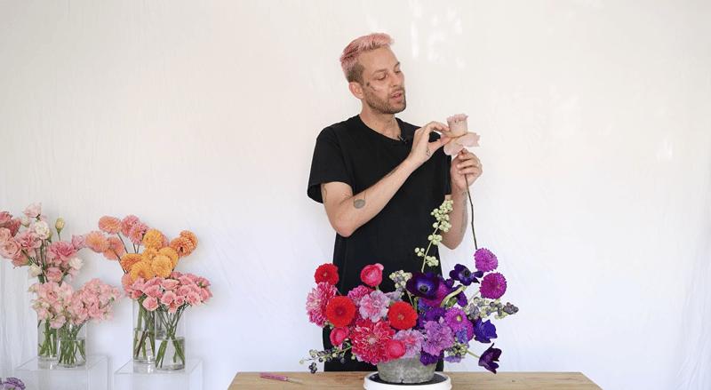 Zoom wedding flowers - jewel tone flower centerpiece