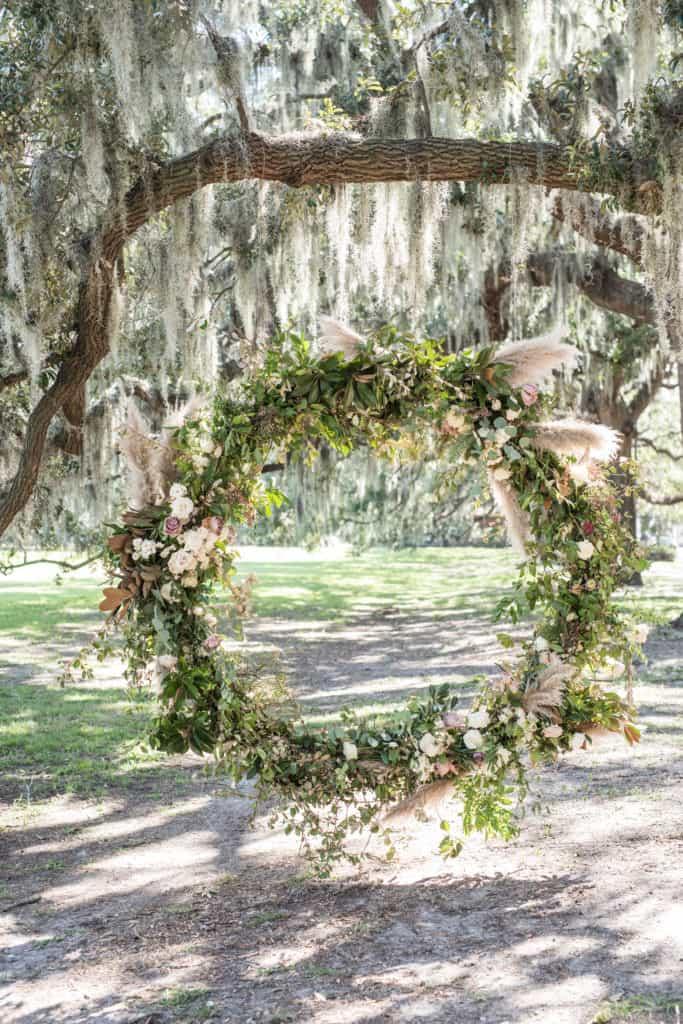 Floral Hoop Wedding Ceremony Backdrop