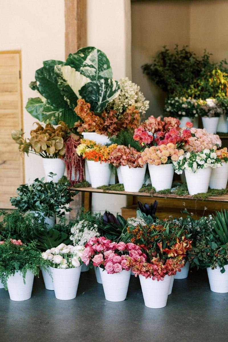 Mayesh Design Star workshop featuring dahlias, roses, amaranthus, anthurium, cymbidiums, ranunculus, blackberries, monstera