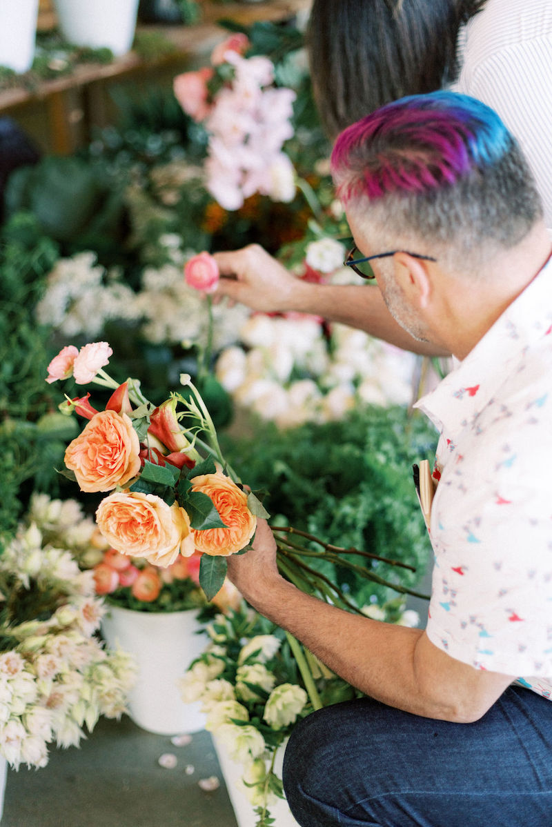 Garden roses and ranunculus at the Mayesh Design Star workshop in Austin TX