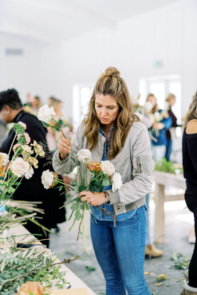students designing bouquets at the Mayesh Design Star workshop in Columbus, OH