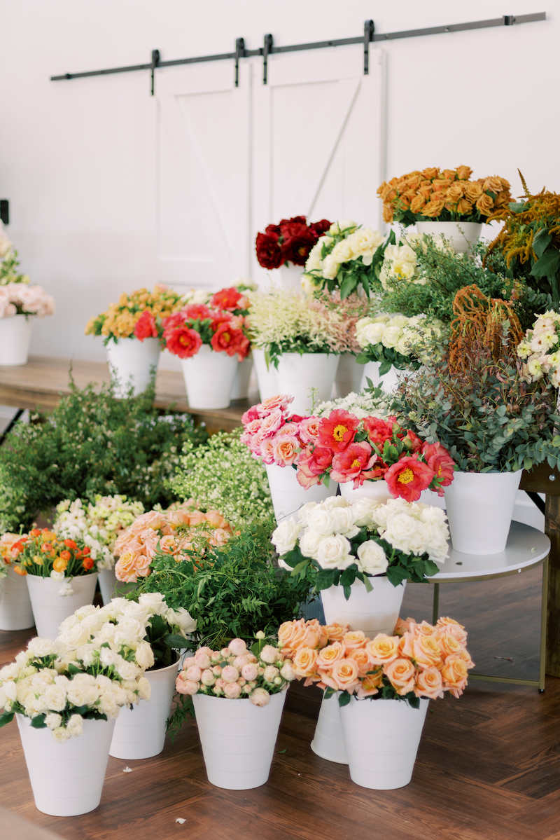 Mayesh Wholesale products including tree peonies, Princess Miyabi roses, autumn eucalyptus, butterfly ranunculus, roses