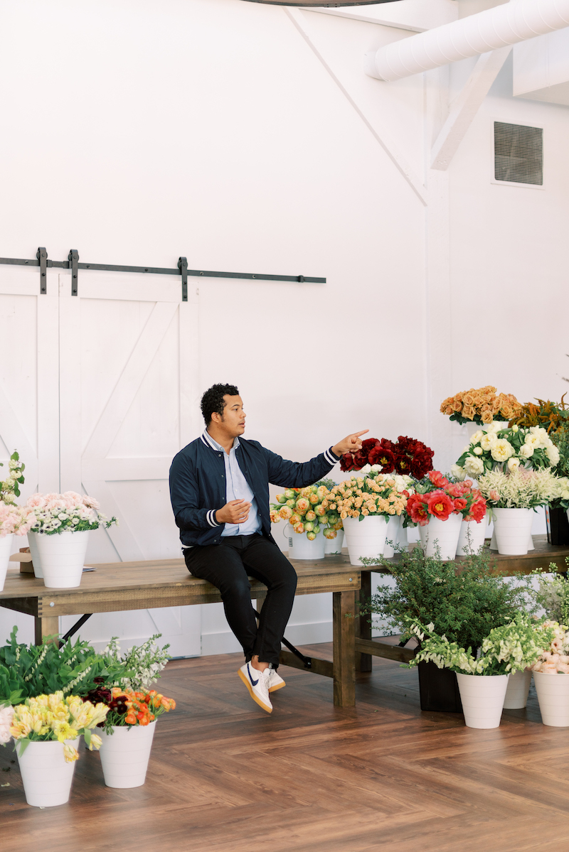 Shean Strong discussing floral business