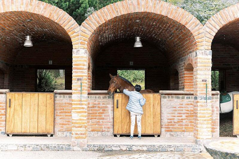 Horse stables at horse ranch in Ecuador.